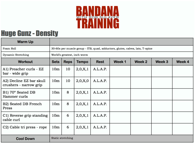 arnold schwarzenegger training chart: The most brutal 30 minute arm specific density workout you ve ever